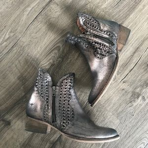 Seychelles weave metallic ankle boots leather